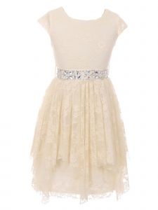 Just Kids Big Girls Off-White Lace Ruffle Junior Bridesmaid Dress 8-14