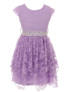 Just Kids Big Girls Lilac Lace Cap Sleeved Easter Junior Bridesmaid Dress 8-14