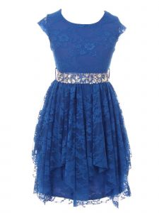 Just Kids Little Girls Royal Blue Lace Ruffle Cap Sleeve Flower Girl Dress 4-6