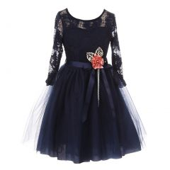 Big Girls Navy Floral Lace Long Sleeve Mesh Overlay Flower Girl Dress 8-14