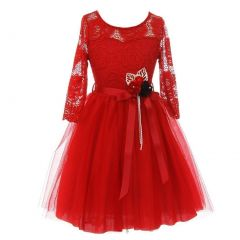 Little Girls Red Floral Lace Long Sleeve Mesh Overlay Flower Girl Dress 2-6