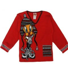 WB Little Girls Red Black Looney Tunes Tweety Long Sleeved Knit Sweater 4-12