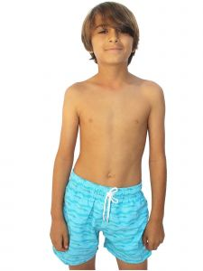 Azul Little Boys Blue Sea Level Fish Print Drawstring Tie Swim Shorts 2-6