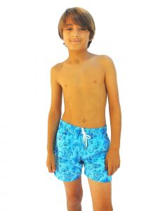 Azul Little Boys Blue Sealife Surf Days Drawstring Tie Swimwear Shorts 2-6
