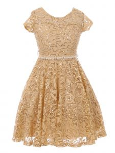 Big Girls Champagne Sequin Lace Pearl Belt Skater Junior Bridesmaid Dress 8-14