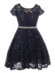 Big Girls Navy Sequin Embellished Lace Pearl Belt Skater Christmas Dress 8-14