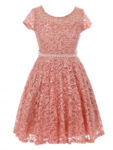 Little Girls Rose Sequin Adorned Lace Pearl Belt Skater Flower Girl Dress 2-6