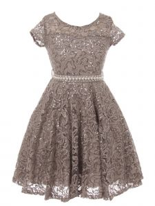 Little Girls Silver Sequin Embellished Lace Pearl Belt Skater Christmas Dress 2-6