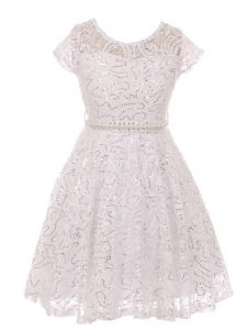 Little Girls White Sequin Adorned Lace Pearl Belt Skater Flower Girl Dress 2-6