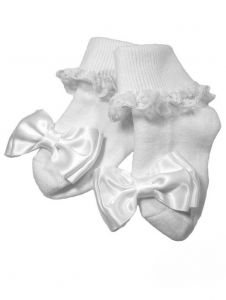 Little Things Mean A Lot Baby Girls White Cotton Lace Socks 0-24M