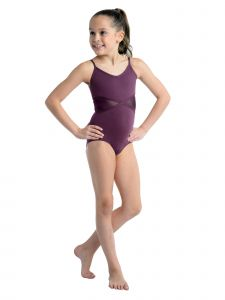 DanzNmotion Girls Multi Color Mesh Inserts Camisole Leotard  6-14