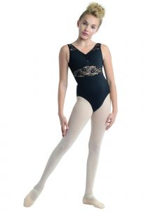 DanzNmotion Big Girls Black V-Neck Lace Inserts Tank Leotard 6-14