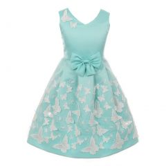 Little Girls Aqua Satin Butterfly Mesh Lace Skirt Sleeveless Easter Dress 4-6
