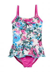 Azul Little Girls Pink Blue Floral Skirted Amazonia One Piece Swimsuit 2-6