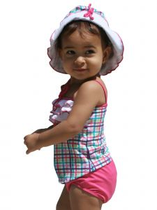 Azul Baby Girls Pink Life Is A Picnic Frills 2 Pc Open Tankini Swimsuit 3-24M
