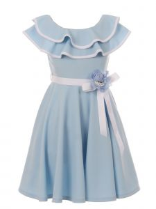 Just Kids Big Girls Baby Blue Floral Satin Belt Junior Bridesmaid Dress 8-14
