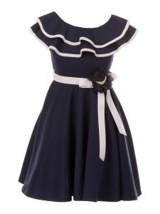 Just Kids Little Girls Navy Floral Adorned Flower Girl Dress 4-6