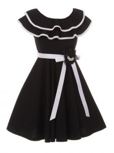 Just Kids Big Girls Black Floral Adorned Junior Bridesmaid Dress 8-14