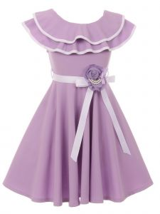Just Kids Little Girls Lilac Floral Adorned Flower Girl Dress 4-6