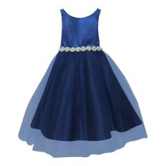 Petite Adele Little Girls Royal Blue Satin Rhinestone Tulle Occasion Dress 2T-6