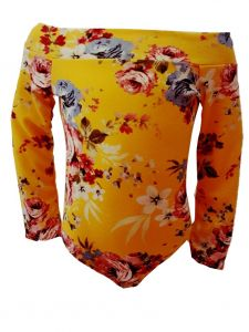 Little Girls Yellow Floral Print Off Shoulder Long Sleeve Leotard 2-6