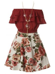 Just Kids Big Girls Burgundy Ruffled Floral 2 Pc Necklace Skirt Set 8-14
