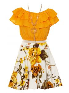 Just Kids Little Girls Mustard Ruffled Floral 2 Pc Necklace Skirt Set 4-6
