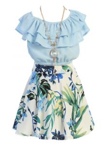 Just Kids Girls Blue Ruffled Floral 2 Pc Necklace Skirt Set 4-14