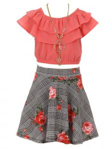 Just Kids Girls Multi Colors Solid Top Necklace Checkered Floral Skirt Set 4-14