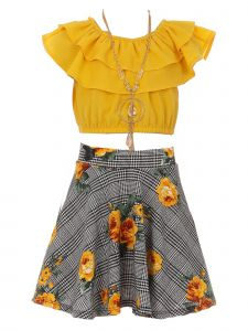 Just Kids Little Girls Mustard Solid Top Necklace Checkered Floral Skirt Set 4-6