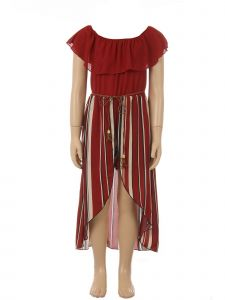Just Kids Little Girls Burgundy Off-Shoulder Stripe Belt Jumpsuit Dress 4-6