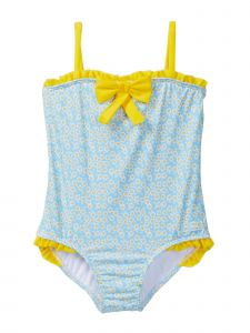 Azul Baby Girls Blue Yellow Floral Print Daisy Crazy One Piece Swimsuit 12-24M
