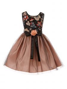 Little Girls Blush Black Floral Trim Overlaid Tulle Flower Girl Dress 2-6