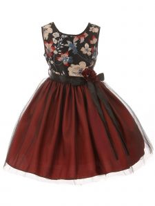Little Girls Burgundy Floral Trim Overlaid Tulle Flower Girl Dress 2-6