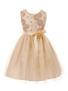Just Kids Little Girls Champagne Lace Flower Embellished Tulle Easter Dress 2-6
