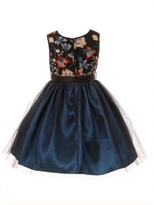 Little Girls Teal Black Floral Trim Overlaid Tulle Flower Girl Dress 2-6