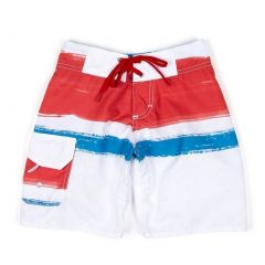 Azul Boys Red White Blue Paint Board Adjustable Waist Swim Trunks 4-14