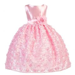 Ellie Kids Little Girls Pink Satin Floral Mesh Lace Flower Girl Dress 2-6