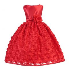 Ellie Kids Little Girls Red Satin Floral Mesh Lace Flower Girl Dress 2-6