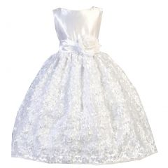 Ellie Kids Big Girls White Satin Floral Mesh Lace Flower Girl Dress 8-12