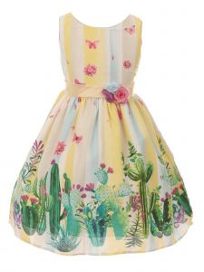 Just Kids Big Girls Yellow Striped Sleeveless Floral Easter Dress 8-14
