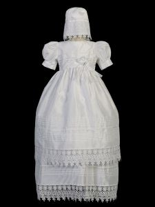 Tip Top Kids Baby Girls White Ropone Bonnet Short Sleeve Baptism Gown 6-18M