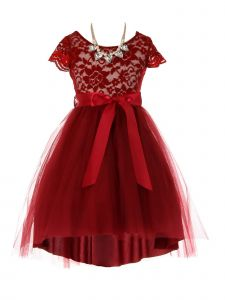 Just Kids Big Girls Burgundy Necklace Lace Hi-Low Junior Bridesmaid Dress 8-14