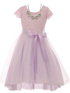Just Kids Big Girls Lilac Necklace Lace Hi-Low Junior Bridesmaid Dress 10