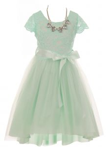 Just Kids Little Girls Mint Necklace Lace Tulle Hi-Low Flower Girl Dress 4-6