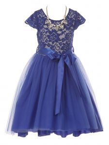 Just Kids Little Girls Royal Blue Necklace Lace Hi-Low Flower Girl Dress 4-6