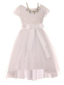 Just Kids Little Girls White Necklace Lace Tulle Hi-Low Flower Girl Dress 4-6