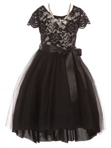 Just Kids Little Girls Black Necklace Lace Tulle Hi-Low Flower Girl Dress 4-6