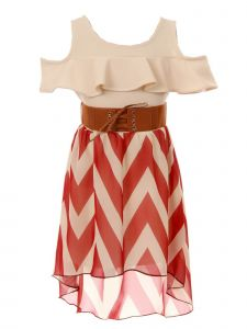 Just Kids Big Girls Burgundy Ruffle Chevron Stripe Belted Hi-Low Dress 8-14