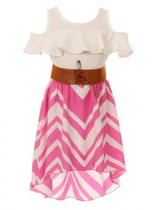 Just Kids Little Girls Fuchsia Ruffle Chevron Stripe Belted Hi-Low Dress 4-6